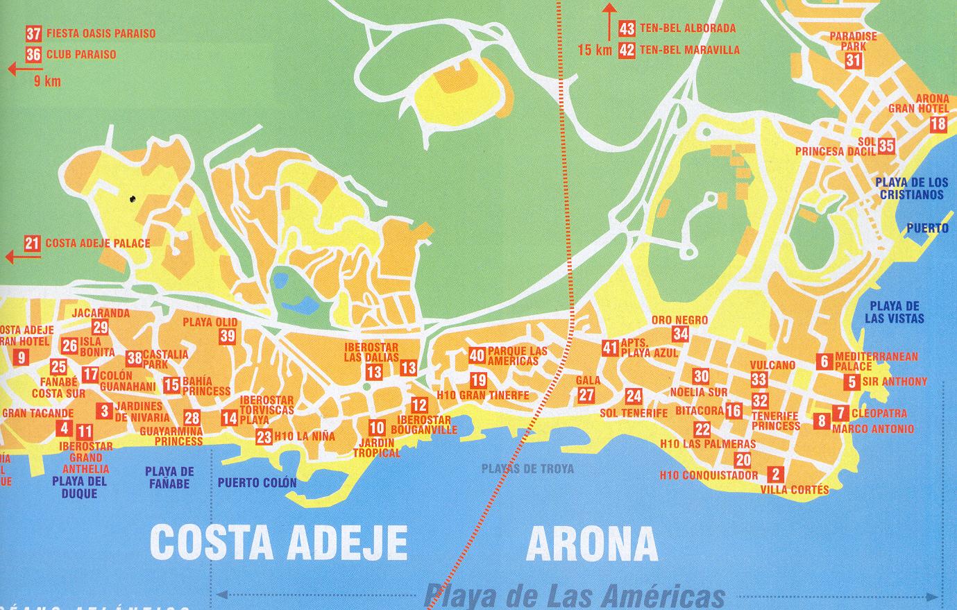 Playa paraiso tenerife map
